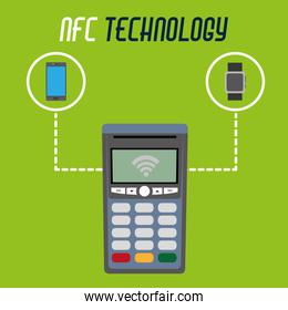 dataphone technology with smartphone and smartwatch technology with transaction payment