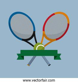tennis rackets and ball objects with ribbon
