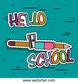pencil with sharpener and eraser school tool patches