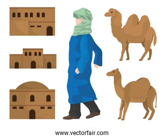 Desert houses camels and arab