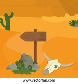 Desert with signpost and skull