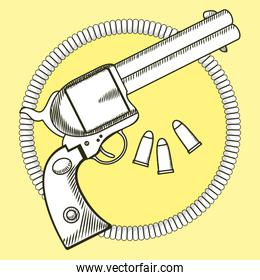 Cowboy revolver with bullets