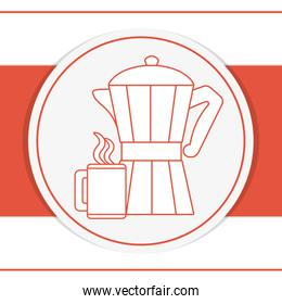 Coffee kettle and mug on red background