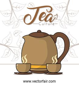 Hot tea cups with kettle