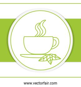 Hot tea cup over round icon