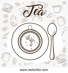 Tea cup with spoon topview