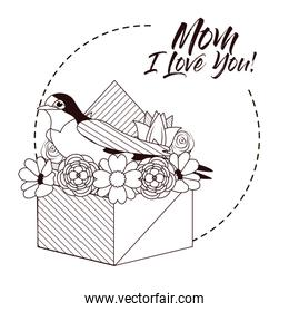 Happy mothers day card with beautiful bird and flowers