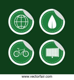 Green energy round stickers collection