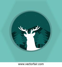 Deer silhouette on round icon