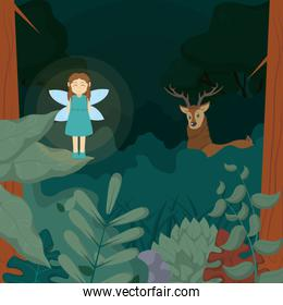 Forest fairy with deer