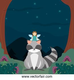 Forest fairy and raccoon