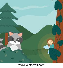 Forest fairy and raccoon with girl scene