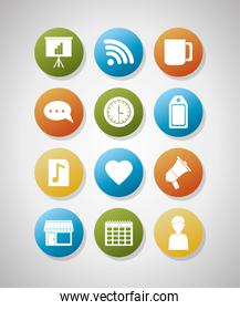 Set of digital marketing icons