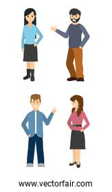 Young people cartoon isolated