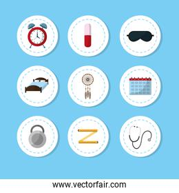 Set of sleep time concept icons