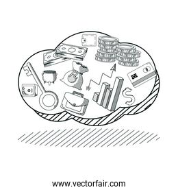 Hand draw money and business cartoons