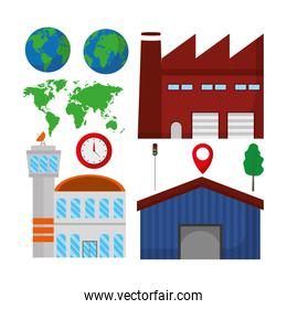 Set of delivery and logistic icons