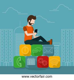 Young man and smartphone