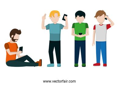 People and smartphone