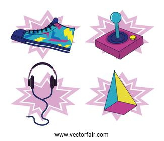 Set of 90s elements and technology
