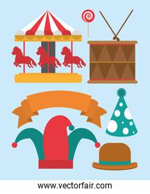 Set of carnival icons