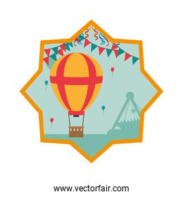air balloon with party flags inside star