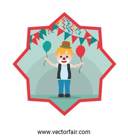 clown boy with balloons and party flags inside star