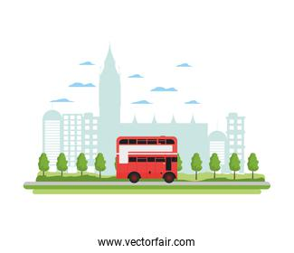 london urban bus and nice cityscape