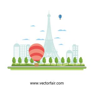 air balloons citycape and eiffel tower