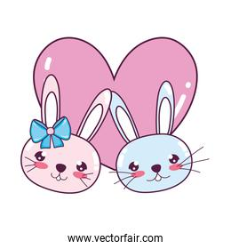 cute rabbits couple head with heart