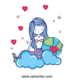 nice woman with global planet and clouds