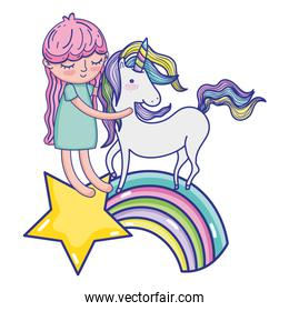 nice girl with unicorn in the rainbow and star