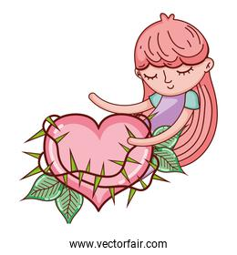 sleeping girl with thorned heart and leaves