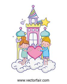 boy and girl with heart in the castle clouds