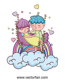 boy carrying girl in the clouds with rainbow and hearts