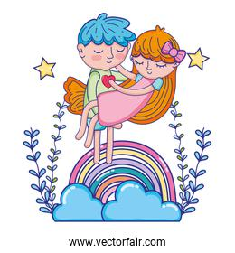 boy carrying girl in the rainbow with clouds and branches