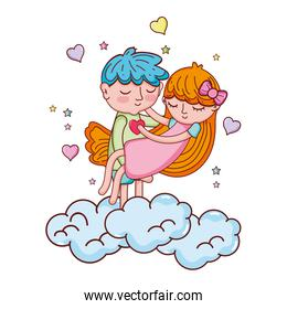 boy carrying girl in the clouds with hearts