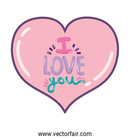 heart with i love you romantic message
