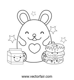 outline female mouse with kawaii donuts and milk