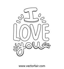 outline i love you message romantic style