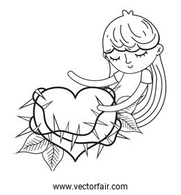 outline sleeping girl with thorned heart and leaves