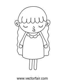 outline nice girl with dress and long hair