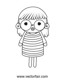 outline funny girl hairstyle with dress and glasses