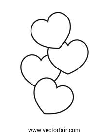 outline nice hearts shapes decoration style