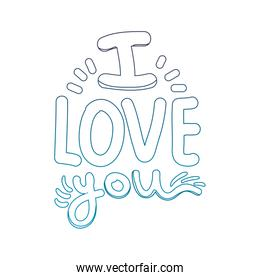 degraded outline i love you message romantic style