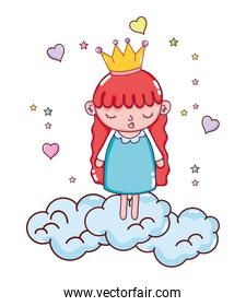 nice girl with crown in the clouds and hearts
