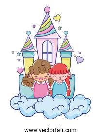 nice girls in the castle with clouds and hearts