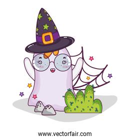 ghost wearing glasses with witch hat