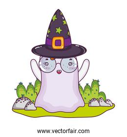 ghost wearing glasses with witch hat in the landscape