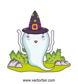 funny ghost character with witch hat